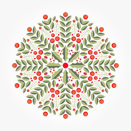Flat leaves holly plant circle ornament, abstract christmas red berries .