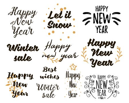Happy New Year Lettering Design Set. Collections of beautiful New Yearand winter sale title for greeting card, flyer, web, banner. Christmas typography set. Vector illustration