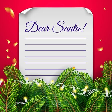 Christmas card with paper leter with round corners and lights on a red background with christmas tree, lights garland and lettering Dear Santa. Massage to Santa Claus template. Vector illustration.