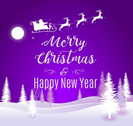 Vector Illustration of Santa Claus Driving in a Sleigh. Merry Christmas and Happy New Year lettering violet greeting background
