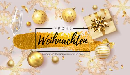 German lettering Frohe Weihnachten - Happy New Year and Merry Christmas. Christmas background with shining gold snowflakes, gifts box, shining golden and silver luxury color ball Vector Illustration Illustration