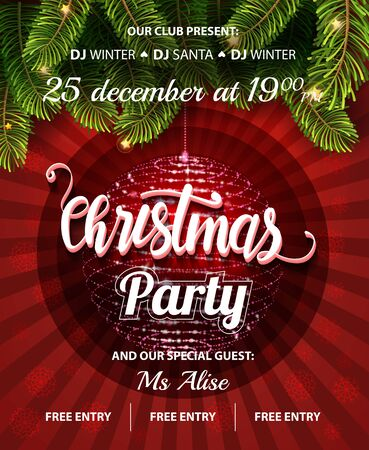 Vector Christmas Party design template. Vector illustration EPS10.