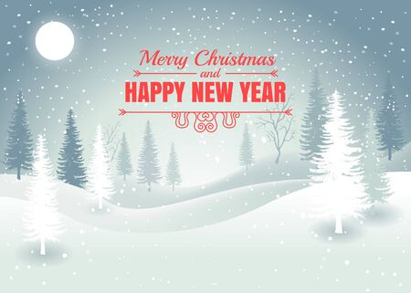 Holiday winter landscape background with winter tree. Merry Christmas and Happy New Year. Vector