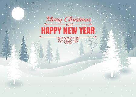Fond de paysage d'hiver de vacances avec arbre d'hiver. Joyeux Noel et bonne année. Vecteur