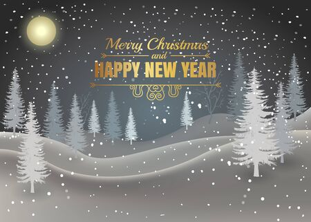Holiday winter landscape background with winter tree in the evening or night . Merry Christmas and Happy New Year. Vector.