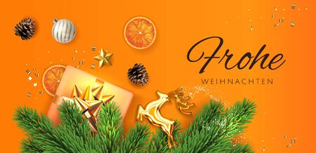 Orange Frohe Weihnachten translate Merry Christmas Holiday horisontal poster illustration with realistic vector 3d gift under the christmas tree top view, golden deer, and christmas elements. Vector