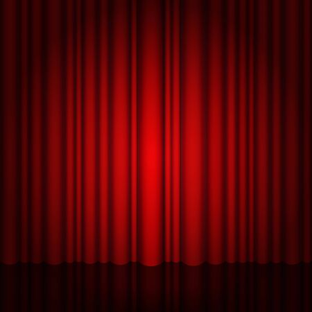 Background with red curtain and light. Red Stage with and glossy floor. Illustration