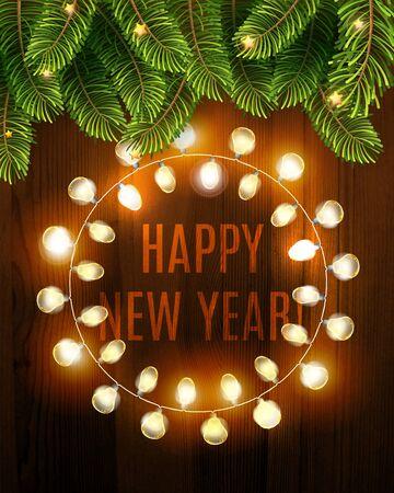 Gelukkig nieuwjaar achtergrond met gloeiende elektrische slinger en spar op de houtstructuur. Vector vakantie illustratie van lichtgevende elektrische Garland. Winterdecoratie
