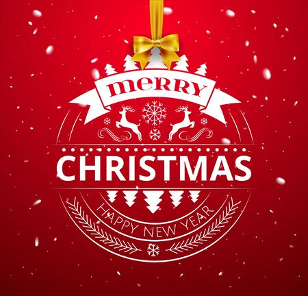 Festive Christmas Luxury Design with Golden Christmas Decorations ball, stars and Merry Christmas and Happy New Year Typography Elements ball ornate in Red Background and bow. Vector Illustration