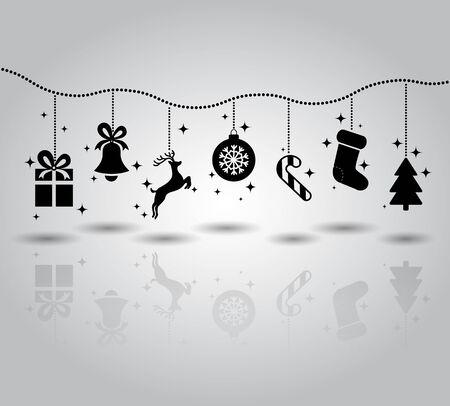 Christmas symbols flat icon garland. gift, bell, deer, ball, snowflake, candy, socks, spruce