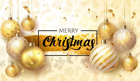 Merry Christmas greeting card banner Poster with golden christmas decoration elements and lettering in gold paint brush splash. Vector illustration. EPS 10.