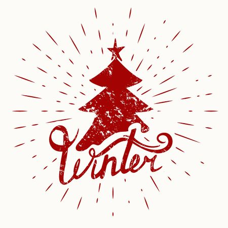 Winter hand drawn lettering with christmas tree. Vector illustration.