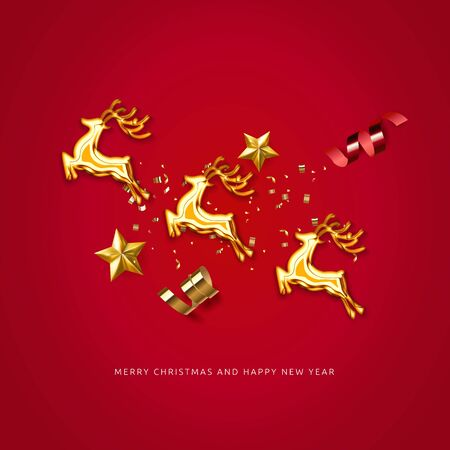 Red holiday celebration background with Silhouette of Christmas reindeer harness and Santa Claus. Merry Christmas and Happy New Year creative luxury minimalism template design. Vector illustration.