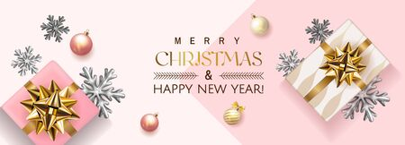 White and pink Merry Christmas and Happy New Year Holiday soft banner illustration with realistic vector 3d objects, Christmas ball, pink and gold gift box with gold bow and Christmas bulb garland.