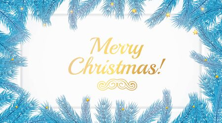 Gold Merry Christmas lettering text card on white background with blue Christmas tree branche. Golden xmas decoration text postcard template. Modern New Year lettering with snowflakes and branches.