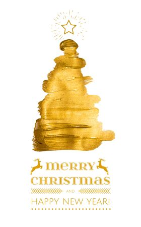 Abstract Gold paint triangle christmas tree , modern design gold fir, Merry Christmas and happy new year business greeting card.