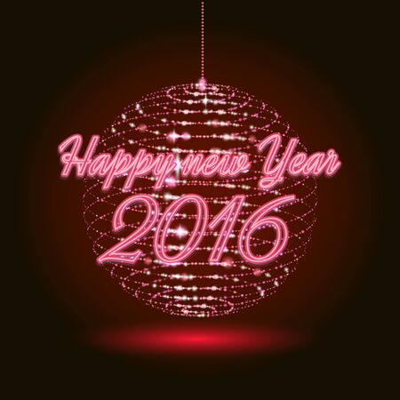 Party red neon christmas ball. 3D illuminated distorted sphere ball of glowing particles. Happy new year .Vector illustration. Disco ball. Vettoriali
