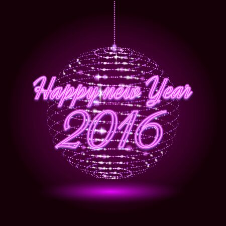 Party neon christmas ball. 3D illuminated distorted sphere ball of glowing particles. Happy new year .Vector illustration. Disco ball Vettoriali