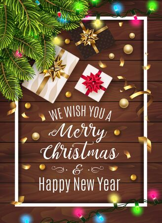 Vintage christmas greeting card with gifts bow, christmas tree. Happy New Year decoration with confetti and light garland. Christmas typographical background with fir branches and elements. Vector.