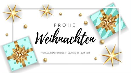 Christmas modern white background with gifts box with a gold bow. Template for postcard, booklet, leaflet, poster. Vector illustration EPS10 German congratulation text Frohe Weihnachten. Illustration