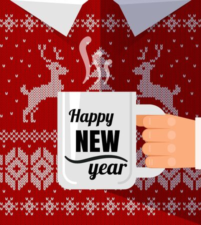 Flat men in warm christmas sweater with cup a coffee cup congratulation. Happy new year postcard.