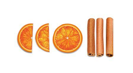 Zimtstangen, orange getrocknete Scheiben, Draufsichtweihnachtssammlung von Dekorelementen einzeln in weißem Hintergrund. Vektor-Illustration. EPS 10.