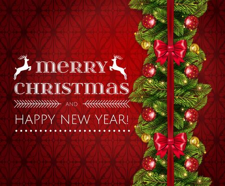 Merry Christmas holiday border with realistic fir tree branches , balls, stars and other ornaments and decorations, isolated on rich red. Vector stock illustration,