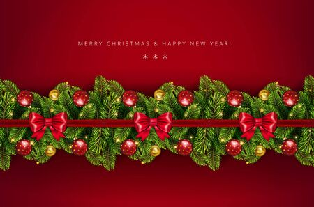 Christmas holiday border with realistic fir tree branches , balls, stars and other ornaments and decorations, isolated on rich red. Vector stock illustration,