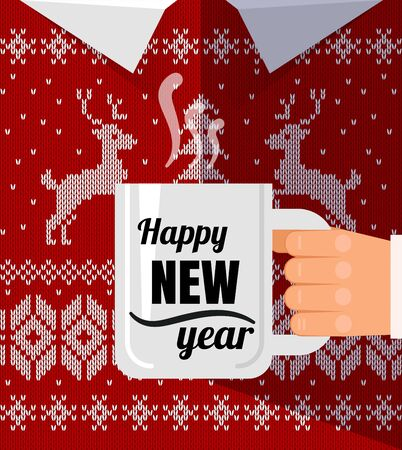 Flat man in warm christmas sweater with cup a coffee cup congratulation. Happy new year postcard.