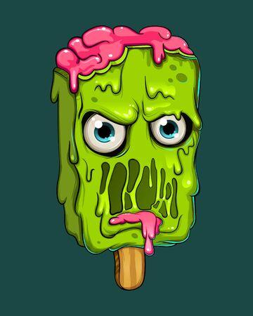 Vector creative Graffiti modern illustration cute cartoon object angry zombie ice-cream. Fasion print for t-shirt stickers, phone case. Vector illustration. EPS 10. Ilustração Vetorial