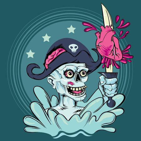 Zombie, dead pirate skull captain with a sword in his hand cuts the human heart in water.