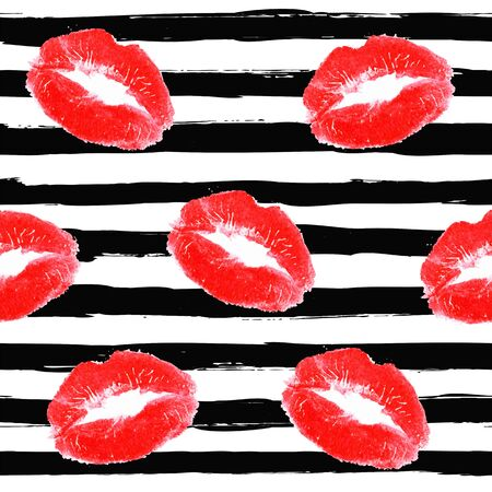 Beautiful red lips print of woman with black paint stripes. Sexy lip make-up pattern. Open mouth. Sweet kiss. Cosmetics and makeup vintage seamless pattern.