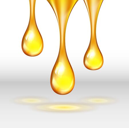 Vector stock set of supreme collagen gold drop of oil essence isolated on white background. Luxury Premium gold shining serum droplet.