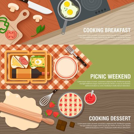 Culinary Breakfast banner flat set with frying pan and eggs, weekend picnic with sandwiches, wine, cloth and basket. Prepare cake with chocolate, strawberries and jam. vector illustration Illustration