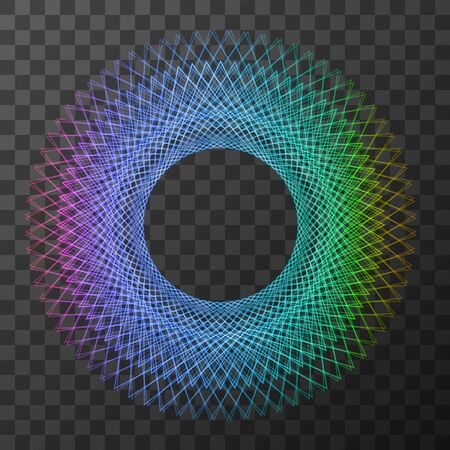 Rainbow line geometry circle - symbol of sacred geometry on trasparent background. Vector illustration. EPS 10