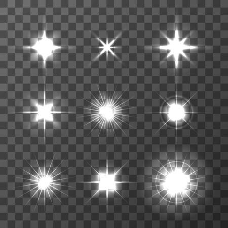 Set of Vector glowing light effect stars bursts on transparent background. Transparent stars.