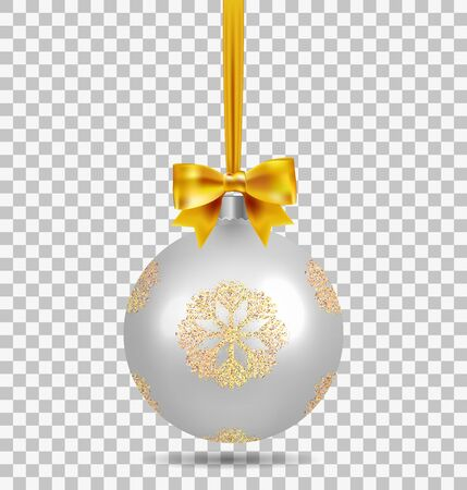 Silver Christmas ball with ribbon and a bow and snowflake isolated on transparent background. Template of matt realistic Christmas ball. Stocking element christmas decorations. Isolated object. Vector