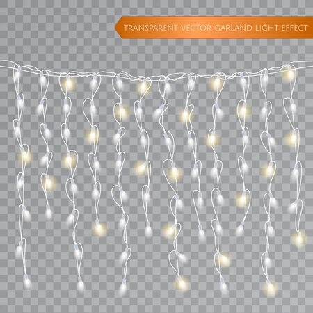 Christmas realistic lights isolated design elements. Glowing lights for Xmas Seasonal Holiday greeting card design. LED neon Garlands decorations template on a transparent background. Vector EPS 10. Vettoriali