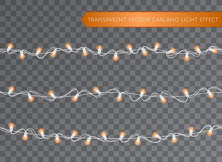Orange garland set, Christmas decoration lights effects. Isolated transparent vector design elements. Glowing lights for Xmas Holiday greeting card design. Christmas realistic luminous garland