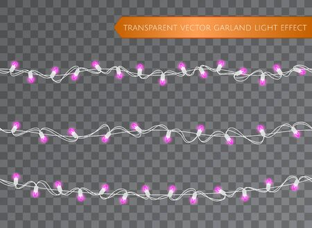 Pink garland set, Christmas decoration lights effects. Isolated transparent vector design elements. Glowing lights for Xmas Holiday greeting card design. Christmas realistic luminous garland
