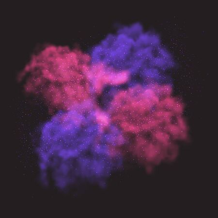 Vector illustration of blue pink and purple smoke clouds on black sky. Use it as an element of background in your design.