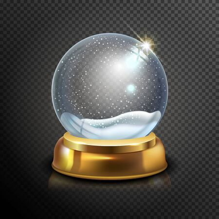 Realistic Christmas glass snow globe isolated on transparent background. vector illustration. Winter in glass ball. Magic Christmas crystal ball of glass, snow and gold stand. Vector illustration.