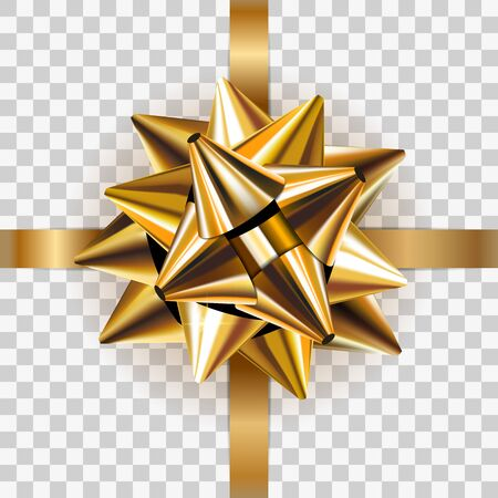 Gold bow ribbon decor element gift package. Shiny golden satin decoration present, isolated transparent background. Christmas, New Year holiday, Birthday celebration design Vector stock illustration