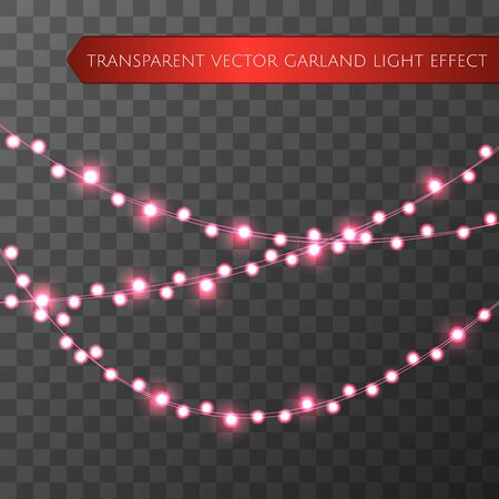 Pink christmas lights isolated realistic design elements. Glowing lights for Xmas Holiday greeting card design. Garlands, Christmas party decorations. Beautiful light background. Vector.