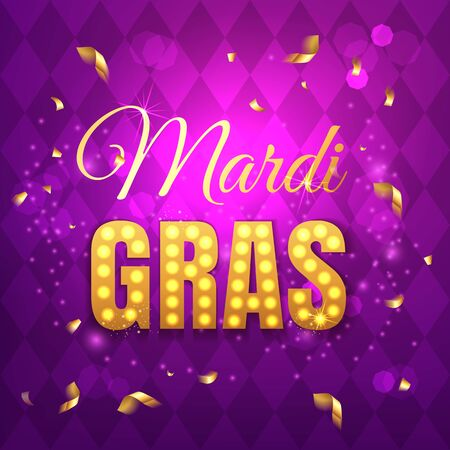 Vector typographical illustration of Mardi Gras beauty purple background with rhombus texture and multicolored festive flags, confetti. Celebration greeting card.