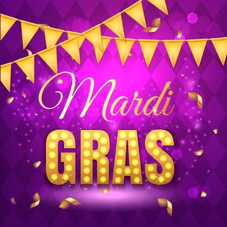 Vector typographical illustration of Mardi Gras beauty purple background with rhombus texture and gold festive flags, confetti. Celebration greeting card