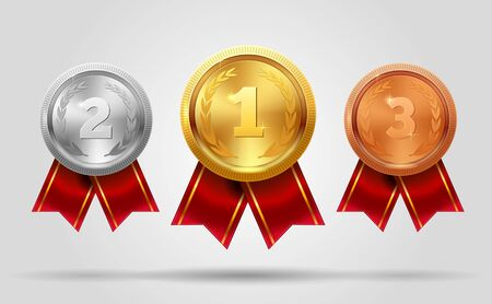 Realistic vector set of shining gold, silver and bronze medals and ribbon. Premium badges. Winner sport awards. Achievement icons. Vector illustration. EPS 10.