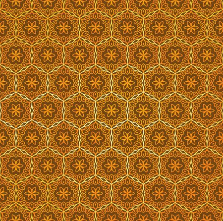 Vector seamless floral ornament in Eastern style. Ornamental pattern for wedding invitations and greeting cards. Traditional golden decor on dark background