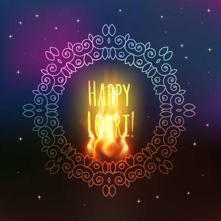 Happy Lohri celebration. Happy Lohri background with bonfire and flags. Creative poster. Happy Lohri Festival, Illustration
