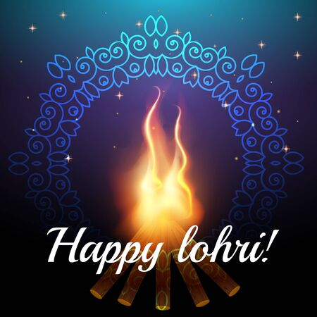 Happy Lohri celebration background with bonfire and stars night sky with ornament. Creative poster. Happy Lohri Festival greeting card. Vector illustration.